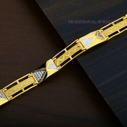 22k Yellow Gold Menand039s Bracelet Beautifully Handcrafted Diamond Cut Design 159