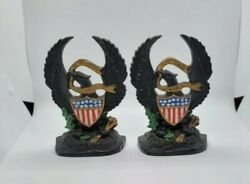 Vtg Hubley Antique Book Ends Cast Iron Old Abe American Eagle 13 Star Shield