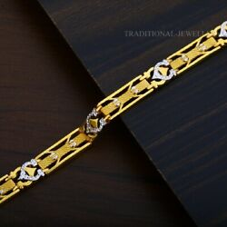 22k Yellow Gold Menand039s Bracelet Beautifully Handcrafted Diamond Cut Design 195