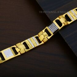 22k Yellow Gold Menand039s Bracelet Beautifully Handcrafted Diamond Cut Design 197