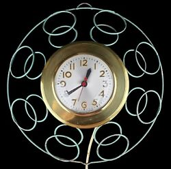 1950s Sessions Model W Mid Century Wrought Iron Electric Kitchen Wall Clock USA