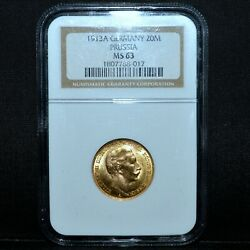 1913-a Gold Prussia 20 Mark ✪ Ngc Ms-63 ✪ Germany 20m Unc Plain Bust ◢trusted◣