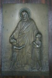† Dnjc And Childs Catholic Communion Engraved Copper Signed Plaque Icon France †