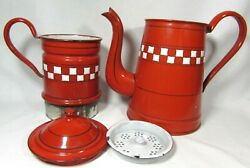 Antique French Lustucru Red White Checkered Enamelware Coffee Pot Press Filter