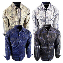 Mens Western Shirt Plaid Gold Foil Paisley Overlay Rodeo Fashion Pockets Snap Up