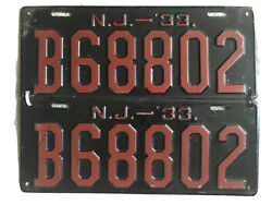 1933 New Jersey License Plates Pair Antique B68802