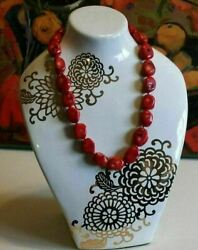 Natural Red Antique Coral Necklace 151g 18 Inches