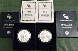 2013 W American Silver Dollar Eagle Burnished W/ Box And Coa Lot Of 2