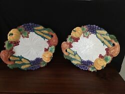 Two 1993 Fitz And Floyd Fall Thanksgiving Harvest Serving Platters Euc