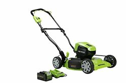 Greenworks 40v 19 Brushless 2-in-1 Lawn Mower 4ah Usb Power Bank Battery And...