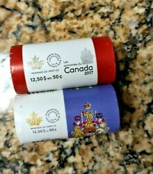 Canadian Half Dollar Coins Full Rolls 2016 And 2017 Unsearched