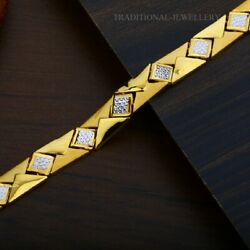 22k Yellow Gold Menand039s Bracelet Beautifully Handcrafted Diamond Cut Design 201