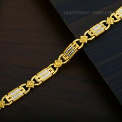 22k Yellow Gold Menand039s Bracelet Beautifully Handcrafted Diamond Cut Design 202