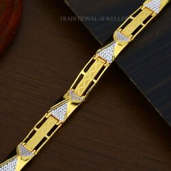 22k Yellow Gold Menand039s Bracelet Beautifully Handcrafted Diamond Cut Design 203