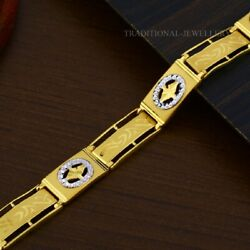 22k Yellow Gold Menand039s Bracelet Beautifully Handcrafted Diamond Cut Design 204