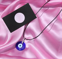 Evil Eye Pendant Necklace Glass Leather Turkish Protect Lucky Necklace Good Luck