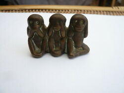 Vintage Old Miniature Small Brass Figure 3 Wise Monkeys Fear See And Hear No Evil