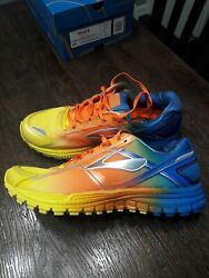 Brooks Mens Ghost 8 Size 9 Yellow Orange Blue Mens Running Shoes Brand New