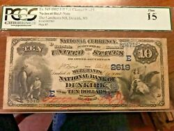 1882 10 National Bank Note Green Fr 545 Dunkirk Ny Charter 2619 Large Ten Pcgs