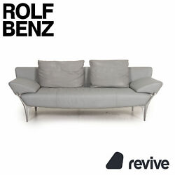 Rolf Benz 1600 Leather Sofa Grey Three-seater Function Armlehnenfunktion Couch