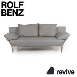 Rolf Benz 1600 Leather Sofa Grey Two Seater Function Armlehnenfunktion Couch
