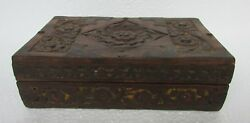 Vintage Old Hand Carved 2 Compartment Wooden Jewellery / Money Box, Collectible