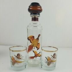 Vintage Glass Whiskey Decanter Pheasants In Flight And Stopper With 2 Glasses