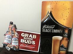 Official Budweiser Bud Light Grab Some Buds And Black Crown Metal Signs 2011 2013