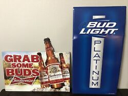 Official Budweiser Bud Light Grab Some Buds And Bud L Platinum Metal Signs 2012