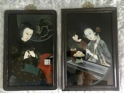 Pair Chinese Reverse Paintings On Glass Portraits Of Ladies