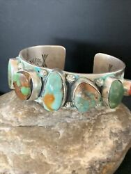 Navajo Sterling Silver Green Royston Turquoise Cuff Bracelet 7 Stone 1465