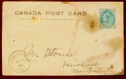Very Rare Vtg 1898 Ont 🇨🇦 Pre Post Card - 1 Cent Queen Victoria Stamp Posted