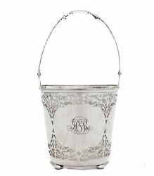 Antique 925 Sterling Silver Handmade Ornate Woven Ice Bucket With Handle