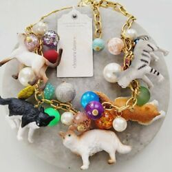 Nwt Lenora Dame Cat Lover Lady Toy Beaded Lucite Statement Collar Necklace