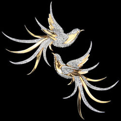 Mb Boucher Matched Pair Gold And Pave Left And Right Facing Swallow Bird Pins