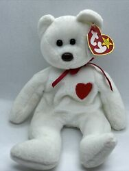 Super Rare Ty Beanie Baby Valentino Bear 1993 Pe Pellets Tag Errors Brown Nose