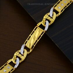 22k Yellow Gold Menand039s Bracelet Beautifully Handcrafted Diamond Cut Design 211