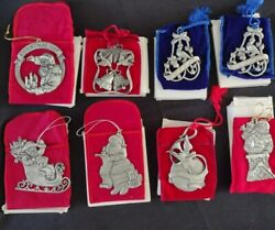 Lot Of 8 Avon Vintage New Pewter Christmas Ornaments 1994 1995 1996 1997 1999 ++