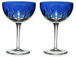 New Waterford Crystal 2 Lismore Pops Cobalt Blue Cocktail Glasses - New In Box