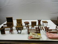 20 Vintage Dollhouse Miniature Wooden Furniture Chairs Bed Tables Sewing Lot