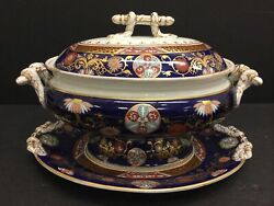 Rare Huge Ashworth Brothers Imari Covered Soup Tureen And Underplate Tray Platter