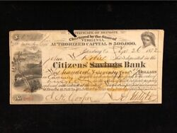 U.s Used Certificate Of Deposit 1872 Citizen's Savings Crossed Out Bank