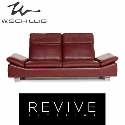 Willi Schillig Leather Sofa Red Dark Red Two Seater Function Couch