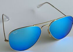 Authentic Ray Ban Sunglasses Aviator RB3025 112 17 Gold Frame Blue Mirror 58mm