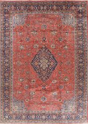 Vintage Floral Traditional Oriental Area Rug Hand-knotted Wool Carpet 10x13 Ft.