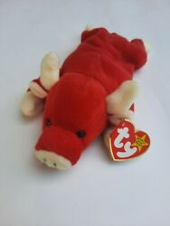 Ty Beanie Baby Snort The Bull Red. Rare. With Pvc Pellets Style 4002.