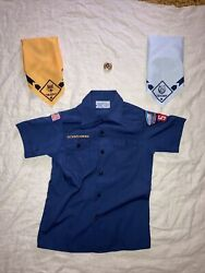 Bsa Youth Medium Blue Boy Scout Shirt With Yellow And Blue Scarf And Tie Holder