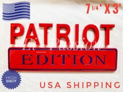 Patriot Edition Red And Blue Universal Side Rear Hood Logo Emblem Addition Adition