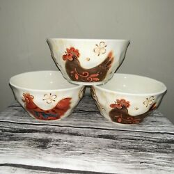 PIER 1 IMPORTS Gallo Cereal Soup Bowl Ice Cream Rooster Chicken Pattern 6quot;