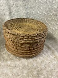 Vintage Paper Plate Holders Wicker Bamboo Rattan Lot Of 16 Retro Picnic Brown B9